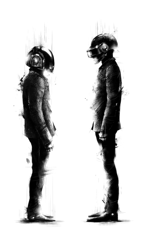 Black and white, inky image.  Two figures in motorcycle helmets facing each other, standing still, pensive.